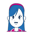 cartoon woman face smiling with blue hair vector image vector image