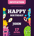 children happy birthday invitation card vector image vector image