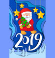 christmas 2019 card from layers paper cut vector image