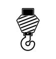 crane hook flat icon black silhouette vector image