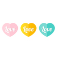 Cute decorative colorful heart icons vector image