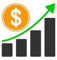 dollar growth chart flat icon vector image vector image