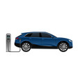 electric suv with charging station vector image vector image