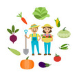 farm vegetables and farmers family vector image vector image