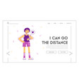 fitness workout session website landing page girl vector image vector image