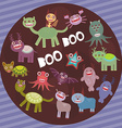 Funny frightening monsters on purple striped vector image vector image