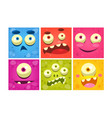 funny monster faces set colorful square emojis vector image vector image