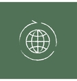 Globe with arrows icon drawn in chalk vector image vector image