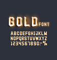 golden font alphabet retro number sign vector image vector image