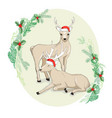 hand drawn of deer hipster in jacquard sweater vector image