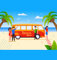 happy tourists on summer bus trip vacation cartoon vector image vector image