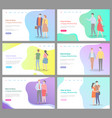 how to build happy relationship internet pages set vector image vector image