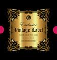 luxury golden ornamental label vector image vector image