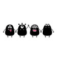 monster set holding hands cute cartoon black vector image