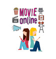 movie online service line icons vector image
