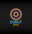 neon light sign donut shop vector image vector image