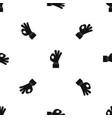 ok gesture pattern seamless black vector image vector image