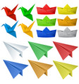 origami craft with birds and planes vector image vector image