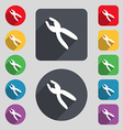 pliers icon sign A set of 12 colored buttons and a vector image