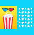 popcorn round bucket box 3d red blue glasses vector image vector image