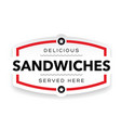 sandwiches vintage stamp label vector image vector image