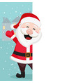 santa claus looks out from behind the white sheet vector image vector image