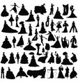 set brides silhouettes vector image