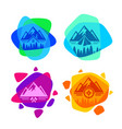 set of bright colored logos for camping vector image vector image