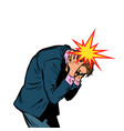 severe headache man clasped his head vector image vector image