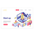 startup landing page isometric template vector image vector image