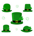 stpatrick s day set of five different green caps vector image