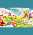 sweet landscape candy land candies and milk river vector image vector image