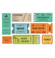 ticket cinema and theatre admission or paper pass vector image