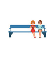 two young women sitting on bench in reception vector image vector image