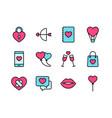 valentine icon set happy valentine day with vector image vector image