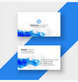 white business card with abstract blue shapes vector image vector image