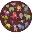Funny monsters card design Funny monsters set Big vector image