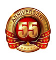 55 anniversary golden label with ribbon vector image vector image