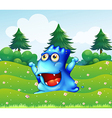 A happy blue monster near the pine trees vector image vector image