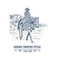 bearded cowboy on horseback vector image vector image