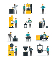 Blacksmith Metalworking Process Flat Icons vector image
