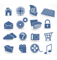blue technology icon set vector image vector image