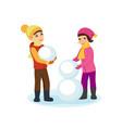 boy and girl in winter clothes sculpt a snowman vector image vector image