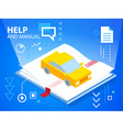 bright help book and car on blue background vector image