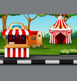 cartoon amusement park on the nature vector image vector image