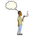 cartoon annoyed smoker with thought bubble vector image vector image