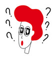 cartoon thinking man with question mark in think vector image