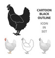 chicken icon in cartoon style isolated on white vector image vector image