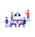 children playing together - flat design style vector image vector image