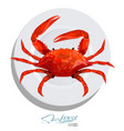 crab on the plate in cartoon style seafood vector image
